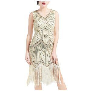 1920s V Neck Beaded Fringed Flapper Gatsby Dress